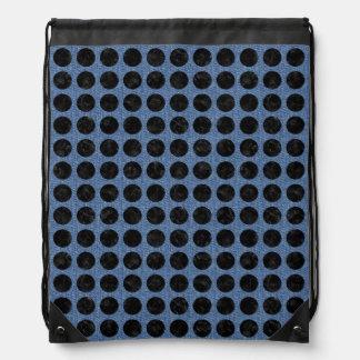CIRCLES1 BLACK MARBLE & BLUE DENIM (R) DRAWSTRING BAG