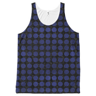 CIRCLES1 BLACK MARBLE & BLUE LEATHER All-Over-Print TANK TOP