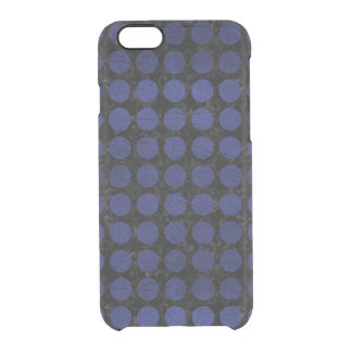 CIRCLES1 BLACK MARBLE & BLUE LEATHER CLEAR iPhone 6/6S CASE