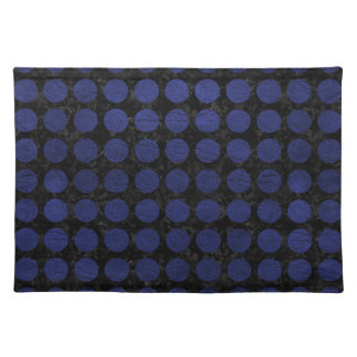 CIRCLES1 BLACK MARBLE & BLUE LEATHER PLACEMAT