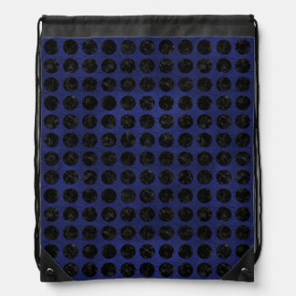 CIRCLES1 BLACK MARBLE & BLUE LEATHER (R) DRAWSTRING BAG