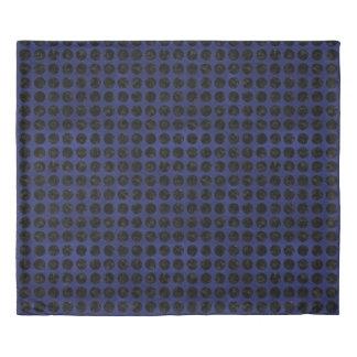 CIRCLES1 BLACK MARBLE & BLUE LEATHER (R) DUVET COVER