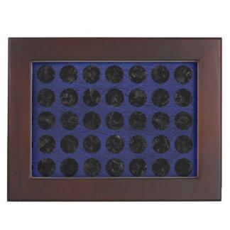 CIRCLES1 BLACK MARBLE & BLUE LEATHER (R) KEEPSAKE BOX