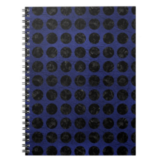CIRCLES1 BLACK MARBLE & BLUE LEATHER (R) NOTEBOOK