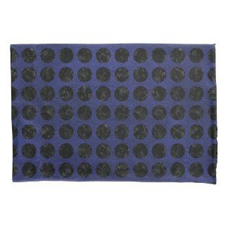 CIRCLES1 BLACK MARBLE & BLUE LEATHER (R) PILLOWCASE