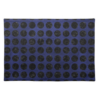 CIRCLES1 BLACK MARBLE & BLUE LEATHER (R) PLACEMAT