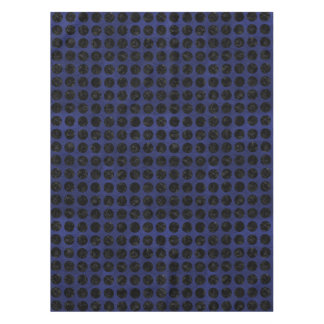 CIRCLES1 BLACK MARBLE & BLUE LEATHER (R) TABLECLOTH