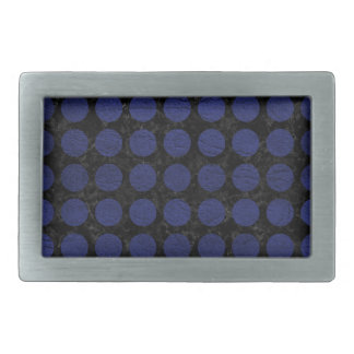 CIRCLES1 BLACK MARBLE & BLUE LEATHER RECTANGULAR BELT BUCKLE
