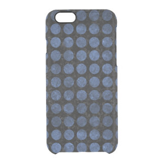 CIRCLES1 BLACK MARBLE & BLUE STONE CLEAR iPhone 6/6S CASE