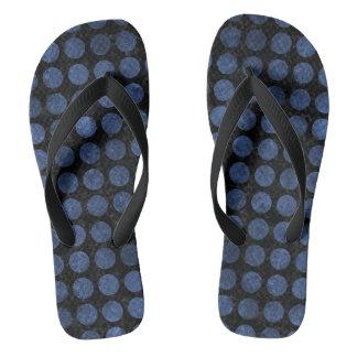 CIRCLES1 BLACK MARBLE & BLUE STONE FLIP FLOPS