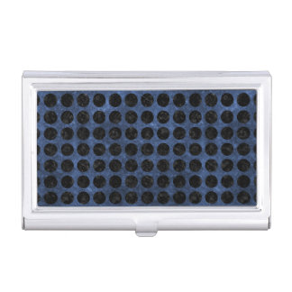 CIRCLES1 BLACK MARBLE & BLUE STONE (R) BUSINESS CARD HOLDER
