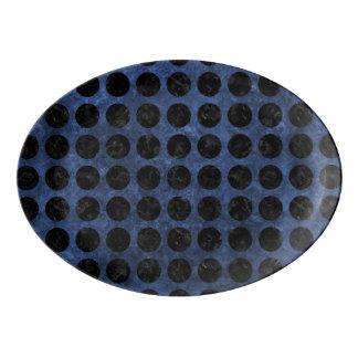 CIRCLES1 BLACK MARBLE & BLUE STONE (R) PORCELAIN SERVING PLATTER
