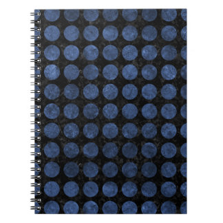 CIRCLES1 BLACK MARBLE & BLUE STONE SPIRAL NOTEBOOK