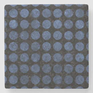 CIRCLES1 BLACK MARBLE & BLUE STONE STONE COASTER