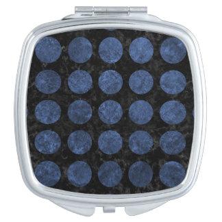 CIRCLES1 BLACK MARBLE & BLUE STONE TRAVEL MIRRORS