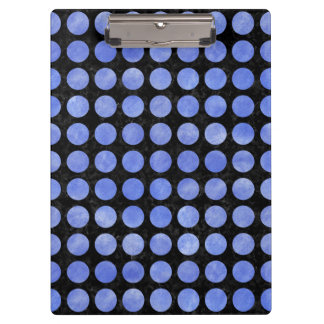 CIRCLES1 BLACK MARBLE & BLUE WATERCOLOR CLIPBOARD