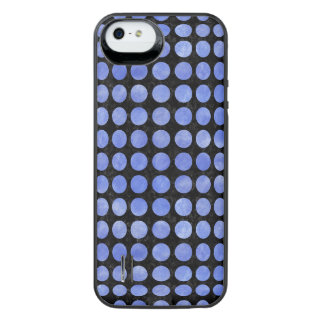 CIRCLES1 BLACK MARBLE & BLUE WATERCOLOR iPhone SE/5/5s BATTERY CASE