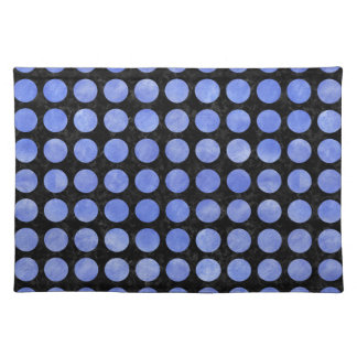 CIRCLES1 BLACK MARBLE & BLUE WATERCOLOR PLACEMAT