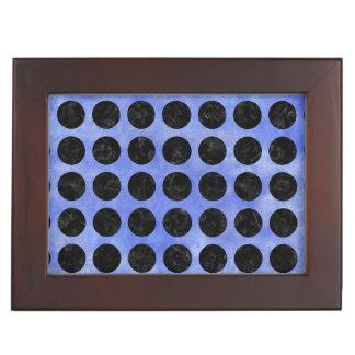 CIRCLES1 BLACK MARBLE & BLUE WATERCOLOR (R) KEEPSAKE BOX