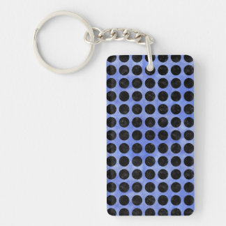 CIRCLES1 BLACK MARBLE & BLUE WATERCOLOR (R) KEYCHAIN
