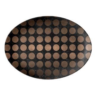 CIRCLES1 BLACK MARBLE & BRONZE METAL PORCELAIN SERVING PLATTER