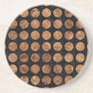 CIRCLES1 BLACK MARBLE & BROWN STONE COASTER