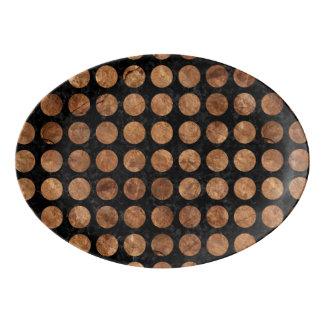 CIRCLES1 BLACK MARBLE & BROWN STONE PORCELAIN SERVING PLATTER
