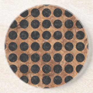 CIRCLES1 BLACK MARBLE & BROWN STONE (R) COASTER