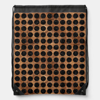 CIRCLES1 BLACK MARBLE & BROWN STONE (R) DRAWSTRING BAG