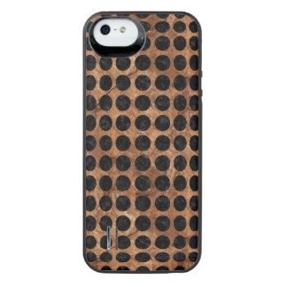 CIRCLES1 BLACK MARBLE & BROWN STONE (R) iPhone SE/5/5s BATTERY CASE