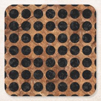CIRCLES1 BLACK MARBLE & BROWN STONE (R) SQUARE PAPER COASTER
