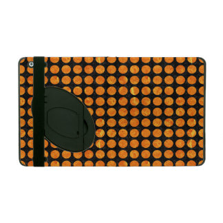 CIRCLES1 BLACK MARBLE & ORANGE MARBLE iPad COVER