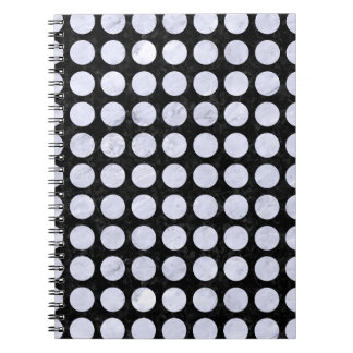 CIRCLES1 BLACK MARBLE & WHITE MARBLE SPIRAL NOTEBOOK