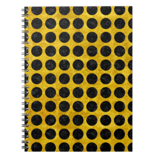 CIRCLES1 BLACK MARBLE & YELLOW MARBLE (R) NOTEBOOK