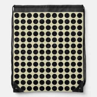 CIRCLES2 BLACK MARBLE & BEIGE LINEN DRAWSTRING BAG
