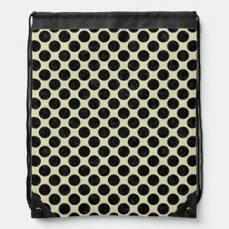 CIRCLES2 BLACK MARBLE & BEIGE LINEN (R) DRAWSTRING BAG