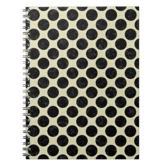 CIRCLES2 BLACK MARBLE & BEIGE LINEN (R) NOTEBOOKS