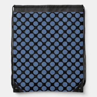 CIRCLES2 BLACK MARBLE & BLUE DENIM DRAWSTRING BAG