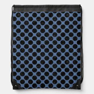 CIRCLES2 BLACK MARBLE & BLUE DENIM (R) DRAWSTRING BAG