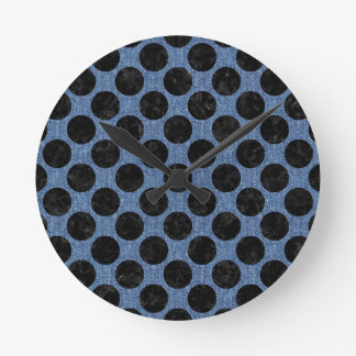 CIRCLES2 BLACK MARBLE & BLUE DENIM (R) ROUND CLOCK