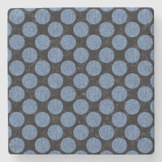 CIRCLES2 BLACK MARBLE & BLUE DENIM STONE COASTER