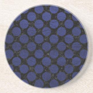 CIRCLES2 BLACK MARBLE & BLUE LEATHER COASTER