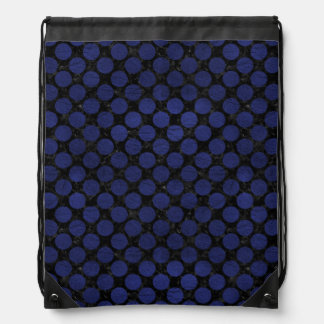 CIRCLES2 BLACK MARBLE & BLUE LEATHER DRAWSTRING BAG