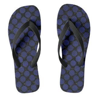 CIRCLES2 BLACK MARBLE & BLUE LEATHER FLIP FLOPS