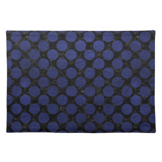 CIRCLES2 BLACK MARBLE & BLUE LEATHER PLACEMAT