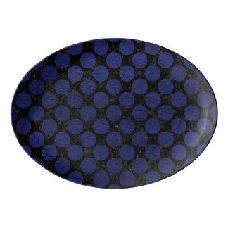 CIRCLES2 BLACK MARBLE & BLUE LEATHER PORCELAIN SERVING PLATTER