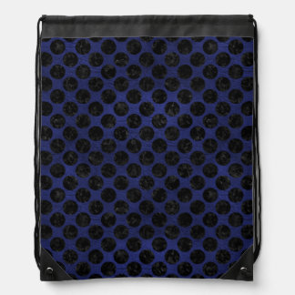 CIRCLES2 BLACK MARBLE & BLUE LEATHER (R) DRAWSTRING BAG