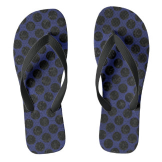 CIRCLES2 BLACK MARBLE & BLUE LEATHER (R) FLIP FLOPS