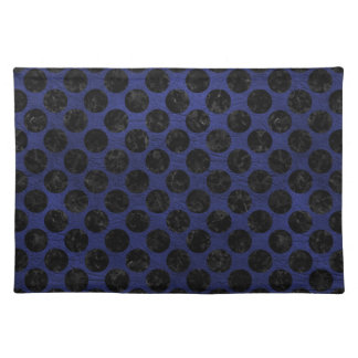 CIRCLES2 BLACK MARBLE & BLUE LEATHER (R) PLACEMAT