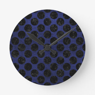 CIRCLES2 BLACK MARBLE & BLUE LEATHER (R) ROUND CLOCK